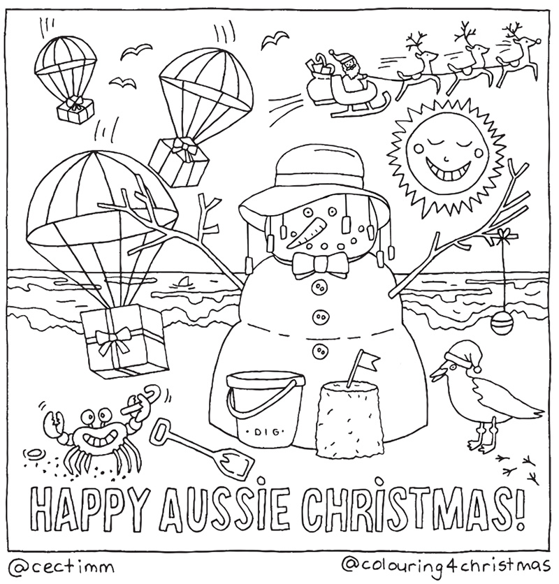 cectimm cecilia timm sydney illustrator Colouring 4 Christmas Card Design Aussie Christmas Sand Santa