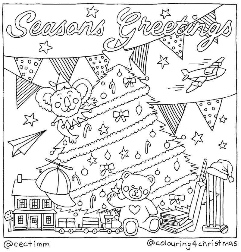 cectimm cecilia timm sydney illustrator Colouring 4 Christmas Card Design Koala with a christmas tree