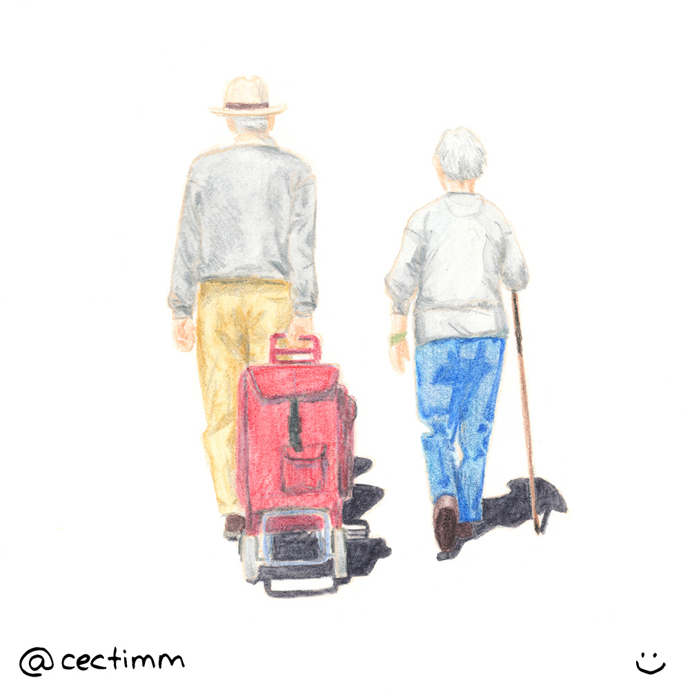 cectimm old couple walking drawing